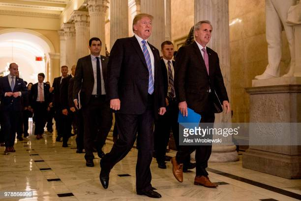 President Donald Trump and Rep Kevin McCarthy leave Capitol Hill on June 19 2018 in Washington DC The President addressed the house Republican...