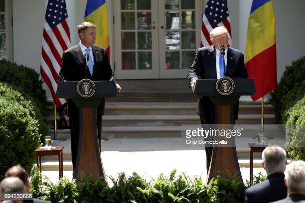 S President Donald Trump and Romanian President Klaus Iohannis hold a joint news conference in the Rose Garden at the White House June 9 2017 in...