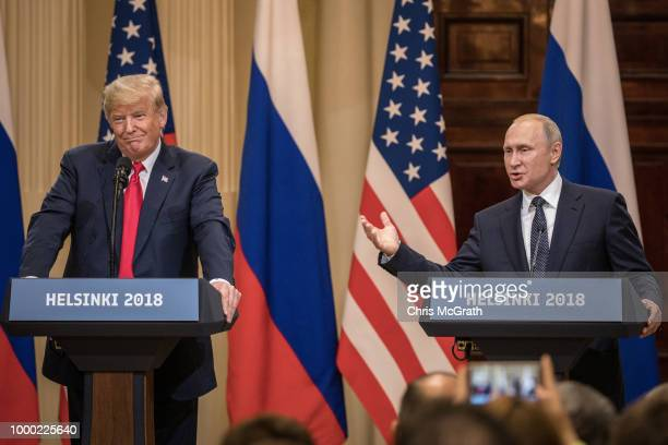 S President Donald Trump and Russian President Vladimir Putin answer questions about the 2016 US Election collusion during a joint press conference...
