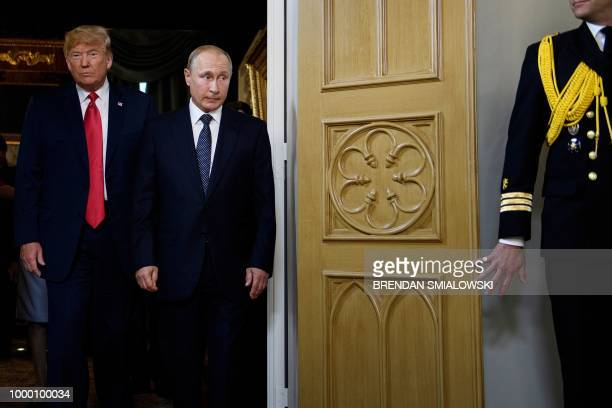 US President Donald Trump and Russian President Vladimir Putin arrive for a meeting in Helsinki on July 16 2018