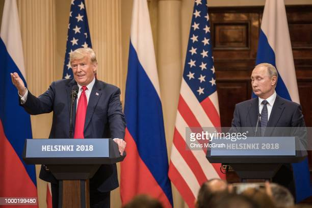 S President Donald Trump and Russian President Vladimir Putin speak to the media during a joint press conference after their summit on July 16 2018...