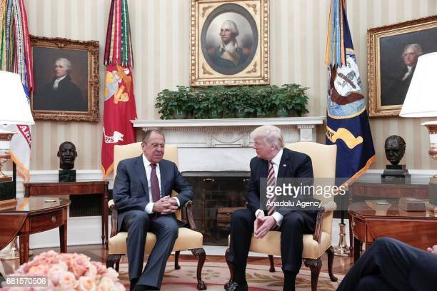 President Donald Trump and Russia's Foreign Minister Sergei Lavrov meet at the Oval Office of White House in Washington DC United States on May 10...