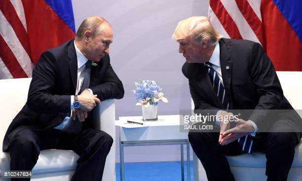 President Donald Trump and Russia's President Vladimir Putin hold a meeting on the sidelines of the G20 Summit in Hamburg, Germany, on July 7, 2017....