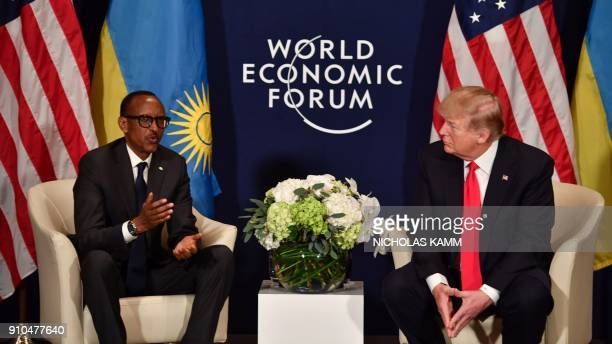 US President Donald Trump and Rwandan President President Paul Kagame attend a bilateral meeting on the sideline of the annual meeting of the World...