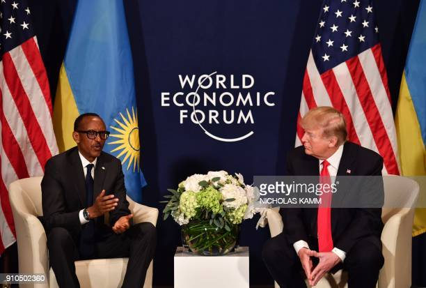US President Donald Trump and Rwanda's President Paul Kagame attend a bilateral meeting on the sidelines of the World Economic Forum annual meeting...