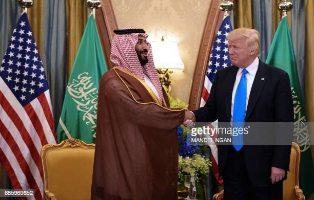 US President Donald Trump and Saudi Deputy Crown Prince Mohammad bin Salman alSaud take part in a bilateral meeting at a hotel in Riyadh on May 20...