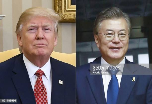 US President Donald Trump and South Korean President Moon Jae In seen in this combined file photo have agreed on South Korea acquiring and developing...