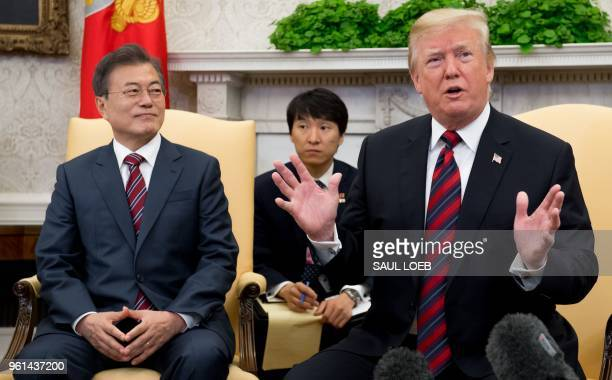 US President Donald Trump and South Korean President Moon Jaein hold a meeting in the Oval Office of the White House in Washington DC May 22 2018...