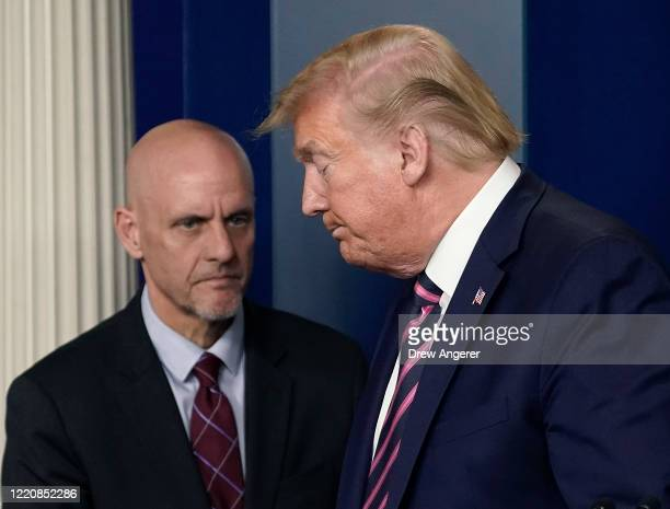 President Donald Trump and Stephen Hahn, Director of the Food and Drug Administration participate in the daily coronavirus task force briefing at the...