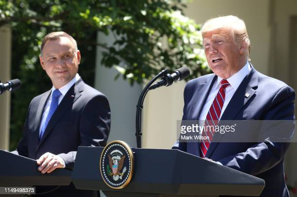 President Donald Trump and the President of Poland, Andrzej Duda speak to the media during a news conference in the Rose Garden at the White House on...
