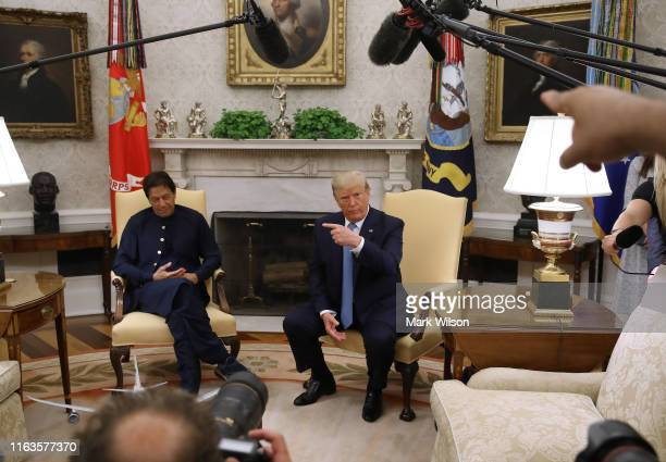 President Donald Trump and the Prime Minister of the Islamic Republic of Pakistan, Imran Khan, speak to the media in the Oval Office at the White...