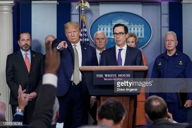 S President Donald Trump and Treasury Secretary Steven Mnuchin joined by members of the Coronavirus Task Force field questions about the coronavirus...