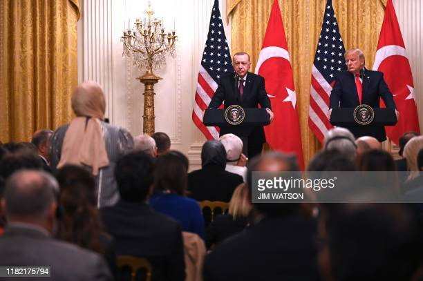 President Donald Trump and Turkey's President Recep Tayyip Erdogan take part in a joint press conference in the East Room of the White House in...