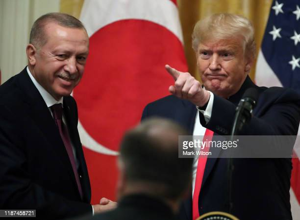 S President Donald Trump and Turkish President Recep Tayyip Erdogan participate in a joint news conference in the East Room of the White House on...