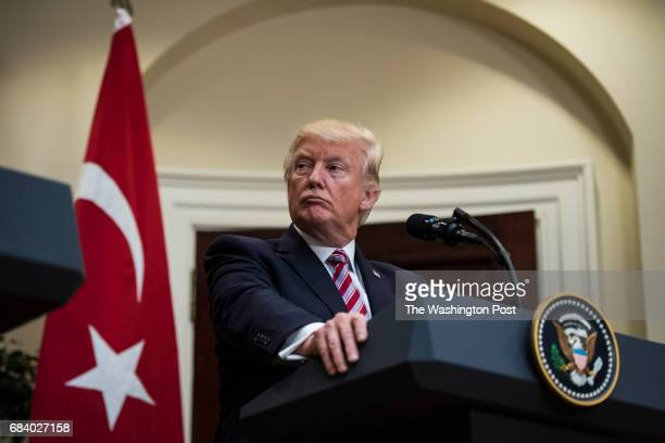 President Donald Trump and Turkish President Recep Tayyip Erdogan make statements in the Roosevelt Room of the White House in Washington DC on...