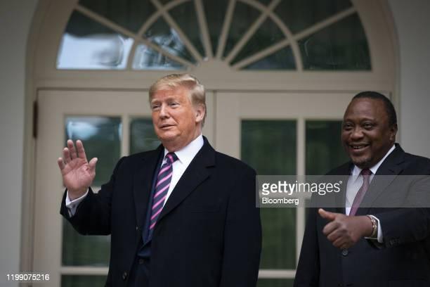 US President Donald Trump and Uhuru Kenyatta Kenya's president right gesture outside of the White House in Washington DC US on Thursday Feb 6 2020...