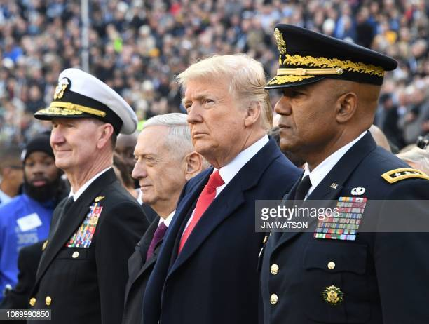 US President Donald Trump and US Defense Secretary Jim Mattis attend the annual ArmyNavy football game at Lincoln Financial Field in Philadelphia...