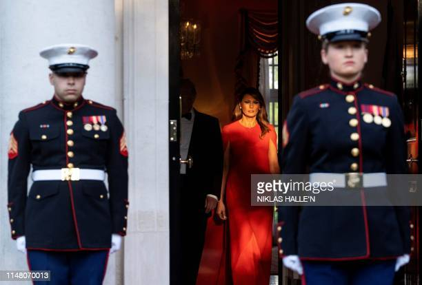 President Donald Trump and US First Lady Melania Trump arrive to greet Britain's Prince Charles Prince of Wales and his wife Britain's Camilla...