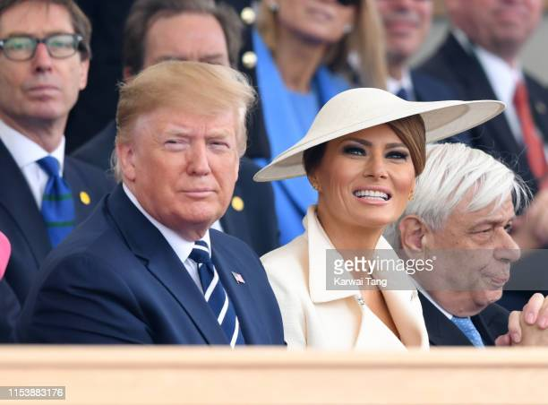 President Donald Trump and US First Lady Melania Trump attend the DDay75 National Commemorative Event to mark the 75th Anniversary of the DDay...