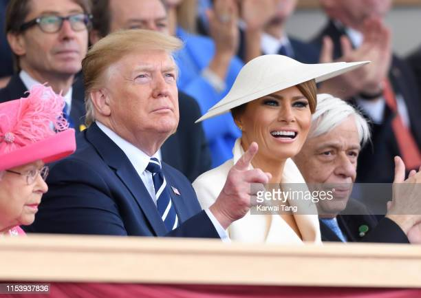 President Donald Trump and US First Lady Melania Trump attend the D-Day75 National Commemorative Event to mark the 75th Anniversary of the D-Day...