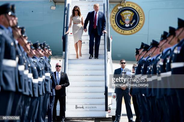 President Donald Trump and US First Lady Melania Trump disembark Air Force One at Stansted Airport north of London on July 12 as he begins his first...