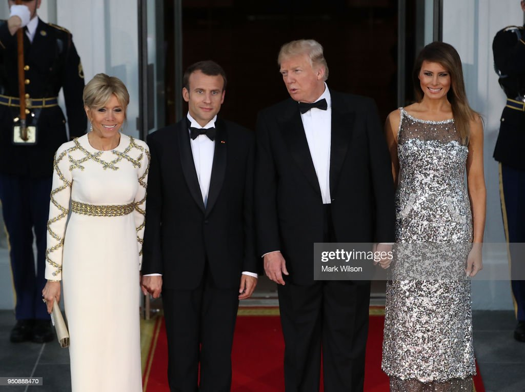 President Trump And First Lady Hosts State Dinner For French President Macron And Mrs. Macron : News Photo