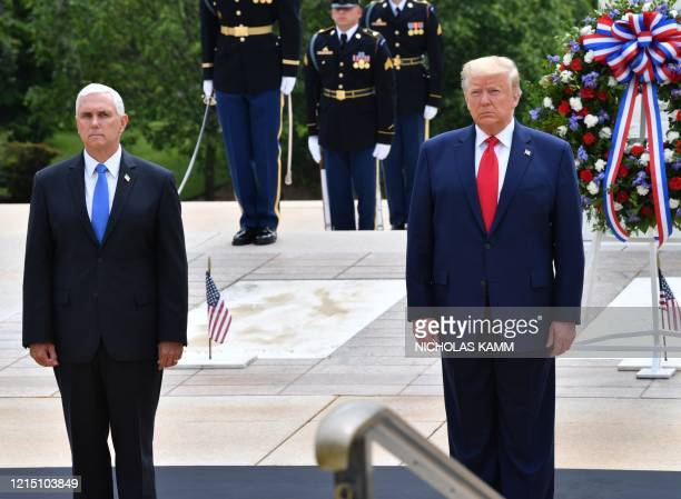 US President Donald Trump and US Vice President Mike Pence participate in a Wreath Laying Ceremony at the Tomb of the Unknown Soldier at Arlington...