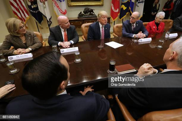 S President Donald Trump and Vice President Mike Pence meet with House of Representatives committee leaders Budget Committee Chairwoman Diane Black...