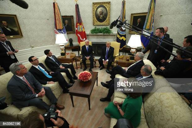 S President Donald Trump and Vice President Mike Pence meet with House Majority Leader Rep Kevin McCarthy Treasury Secretary Steven Mnuchin Speaker...