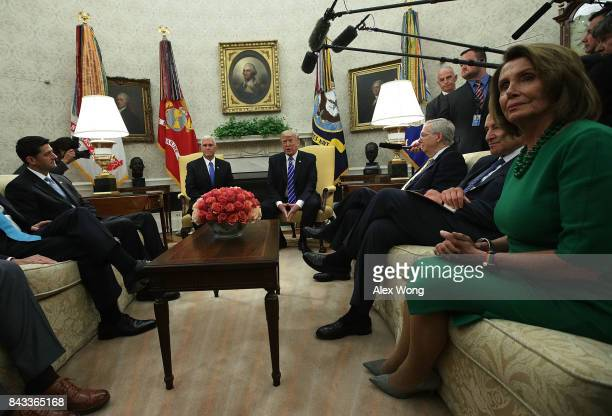 S President Donald Trump and Vice President Mike Pence meet with Speaker of the House Paul Ryan Senate Majority Leader Mitch McConnell Senate...