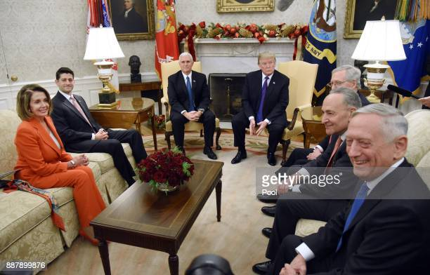 US President Donald Trump and Vice President Mike Pence meet with Congressional leadership including House Minority Leader Rep Nancy Pelosi House...