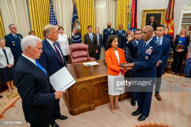 S President Donald Trump and Vice President Mike Pence participate in the swearing in of General Charles Q Brown as the incoming Chief of Staff of...