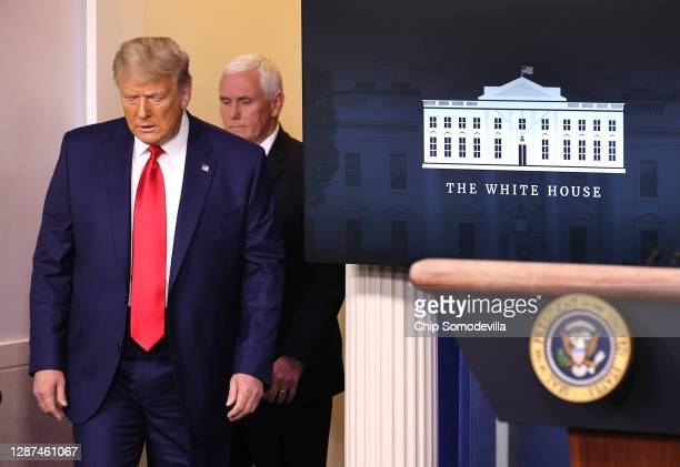 President Donald Trump and Vice President Mike Pence prepare to speak to the press in the James Brady Press Briefing Room at the White House on...