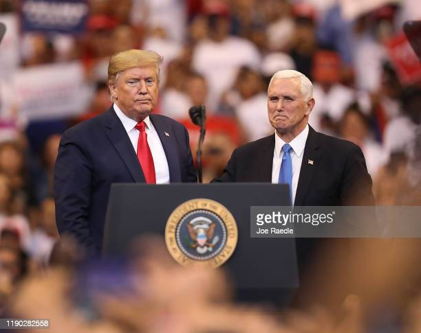 S President Donald Trump and Vice President Mike Pence stand together during a homecoming campaign rally at the BBT Center on November 26 2019 in...