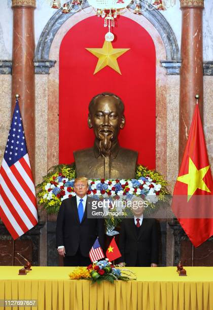 S President Donald Trump and Vietnamese President Nguyen Phu Trong pose at the Presidential Palace on February 27 2019 in Hanoi Vietnam US President...