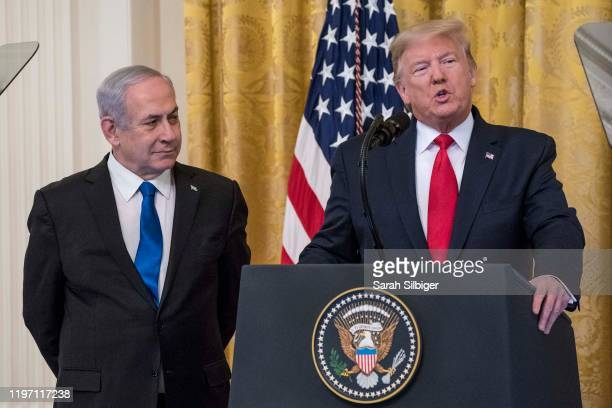 President Donald Trump andIsraeli Prime Minister Benjamin Netanyahuspeak during a joint statement in the East Room of the White House on January...