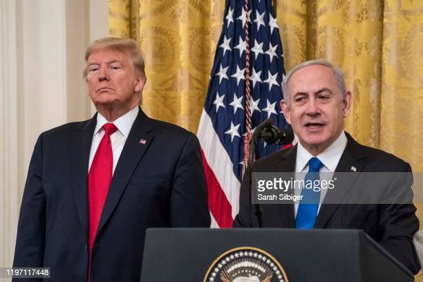 President Donald Trump andIsraeli Prime Minister Benjamin Netanyahuparticipate in a joint statement in the East Room of the White House on January...