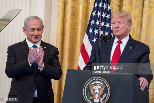 S President Donald Trump and Israeli Prime Minister Benjamin Netanyahu participate in a joint statement in the East Room of the White House on...