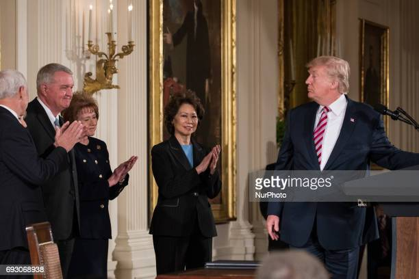 President Donald Trump announced the Air Traffic Control Reform Initiative in the East Room of the White House At the end of the event POTUS signed a...