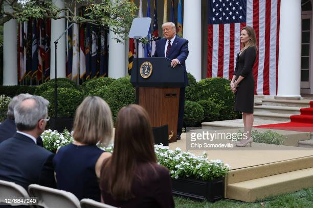 President Donald Trump announces 7th U.S. Circuit Court Judge Amy Coney Barrett as his nominee to the Supreme Court in the Rose Garden at the White...