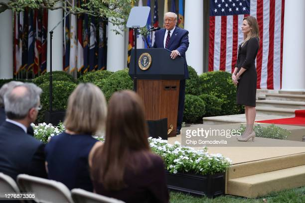 S President Donald Trump announces 7th US Circuit Court Judge Amy Coney Barrett as his nominee to the Supreme Court in the Rose Garden at the White...