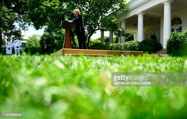 President Donald Trump announces a new immigration proposal in the Rose Garden of the White House in Washington DC on May 16 2019 Trump proposes an...