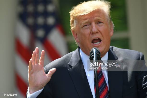 US President Donald Trump announces a new immigration proposal in the Rose Garden of the White House in Washington DC on May 16 2019 Trump proposed...
