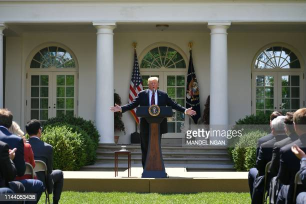 US President Donald Trump announces a new immigration proposal in the Rose Garden of the White House in Washington DC on May 16 2019 Trump on...
