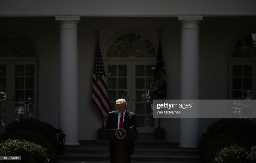 U.S. President Donald Trump announces his decision for the United States to pull out of the Paris climate agreement in the Rose Garden at the White House June 1, 2017 in Washington, DC. Trump pledged on the campaign trail to withdraw from the accord, which former President Barack Obama and the leaders of 194 other countries signed in 2015. The agreement is intended to encourage the reduction of greenhouse gas emissions in an effort to limit global warming to a manageable level.