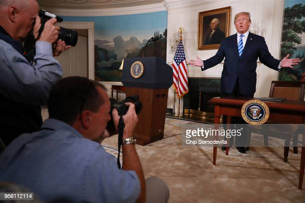 S President Donald Trump announces his decision to withdraw the United States from the 2015 Iran nuclear deal in the Diplomatic Room at the White...