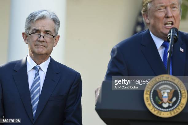 US President Donald Trump announces his nominee for Chairman of the Federal Reserve Jerome Powell in the Rose Garden of the White House in Washington...