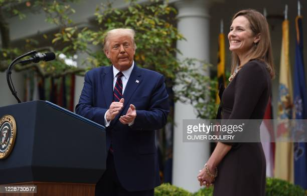 President Donald Trump announces his US Supreme Court nominee Judge Amy Coney Barrett in the Rose Garden of the White House in Washington DC on...