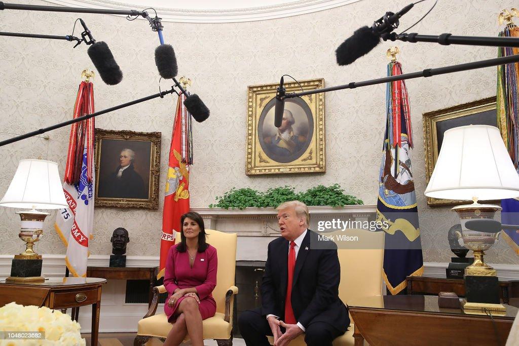 President Trump Meets With UN Ambassador Nikki Haley At The White House : News Photo