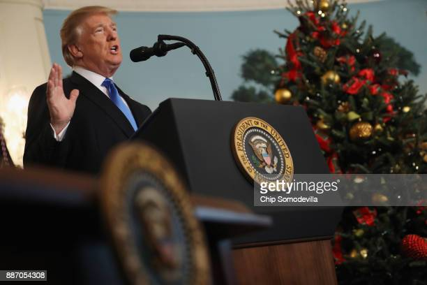 President Donald Trump announces that the US government will formally recognize Jerusalem as the capital of Israel in the Diplomatic Reception Room...